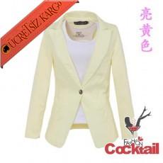 * Fit Kesim Japon Klasik Ceket Sarı S-Xxl - İNDİRİM ÖZEL