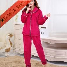 * Polar Japon 2Li Pijama Takım Kırmızı Bedenli