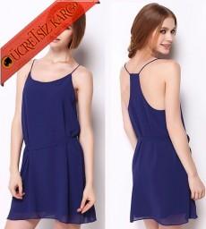 * Askılı Japon Elegant Şifon Mini Elbise Mavi S-L