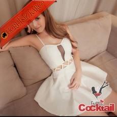 * Japon Dekolte Çapraz Bel Gece Elbise Beyaz