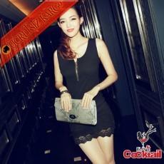 * Japon Fermuarlı Dantelli Gece Elbise Siyah S M L