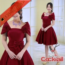 * CINDERELLA çiçek fiyonk abiye elbise kırmızı S