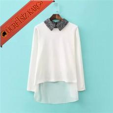 * Asimetrik Etek Japon Sevimli Yaka Bluz Beyaz S-L