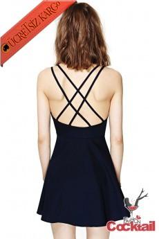 * İnce Çapraz Sırt Askılı Dekolte Gece Elbise Siyah