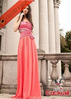 * Drape & Parıltı Japon Abiye Uzun Elbise S M L