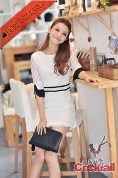 * BLACK LINES şeffaf kol siyah şerit beyaz elbise