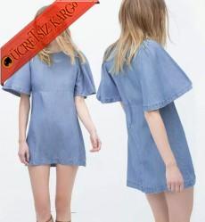 * Boru Geniş Kol Japon Kot Elbise S-L