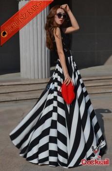 * Çizgi Etek Japon İspanyol İşi Uzun Elbise Siyah