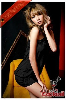 * ŞERİTLİ japon tek omuz gece elbise siyah