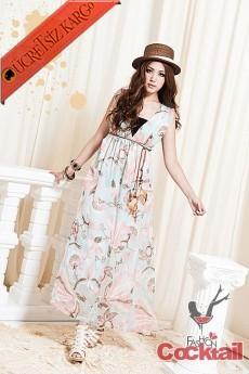 * PERİ japon desenli uzun elbise mavi