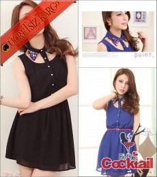 * rengarenk yaka japon pencereli elbise siyah