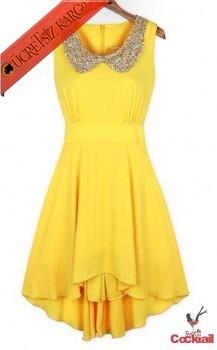 * SHINING BABY NECK japon gece elbise sarı S M L