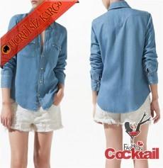 * Kovboy Style Japon Snaps Kol Gömlek Mavi S