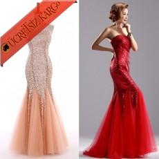 * Pul & Tül Japon Balık Elbise Abiye S-Xxl Pudra
