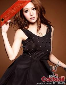 * PULLU sırt dekolteli japon çan etek elbise siyah