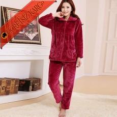 * Alacalı Peluş Japon Pijama Takım Bordo Bedenli