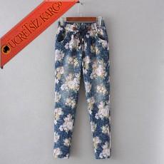 * Çiçekli Bağcıklı Dar Paça Japon Pantolon Pembe