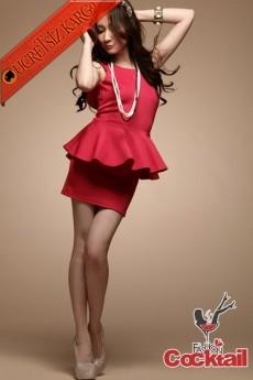 * volan etek japon kolsuz gece elbise kırmızı