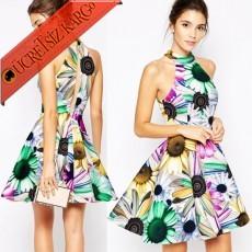 * Renkli Papatya Japon Kolsuz Party Elbise S-L