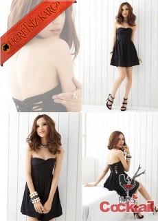 * japon straples GRACEFUL elbise siyah