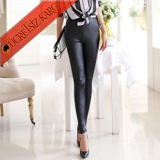 * Bayan Deri Sexy Japon Tayt Pantolon S-L Siyah