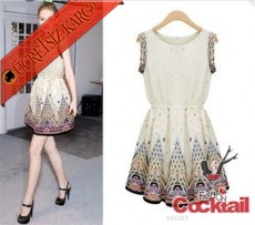 * Nakış Üçgen Etek Japon Gece Elbise Beyaz S-Xl