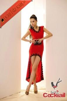 * Oyalı Kenar Japon Gece Elbise Kırmızı S M L