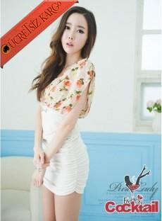 * portakal çiçeği japon gece elbise beyaz M L