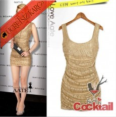 * japon PARILTI kolsuz SEXY party elbise altın