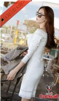 * Delikli Düşük Omuz Japon Gece Elbise M L Beyaz