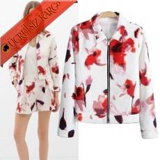 * Alev Çiçekleri Japon Elegant Ceket S-L