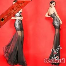 * Balık Etek Japon Dantel Abiye Elbise Siyah