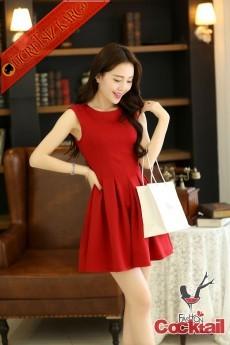 * Büzgülü Japon Çan Gece Elbise S-L Kırmızı