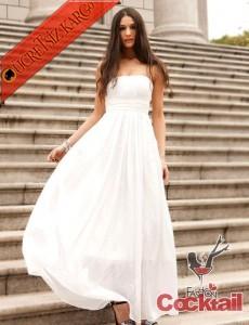 * DRAPELİ yüksek bel straples abiye elbise BEYAZ
