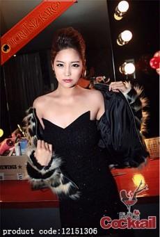 * PARILTILI KUMAŞ japon  abiye elbise siyah