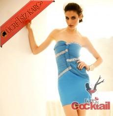 * BURGU & TAŞLI japon straples abiye elbise mavi