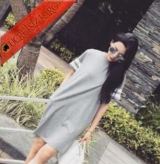 * Çizgili Kol Japon Dökümlü Spor Elbise Tunik Gri