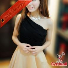 * Büzgü Büst Japon Tek Omuz Party Elbise Bej