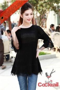 * delikli japon bayan kışlık kazak siyah