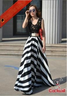 * Çizgi Etek Japon Dantel Üst Uzun Elbise Siyah