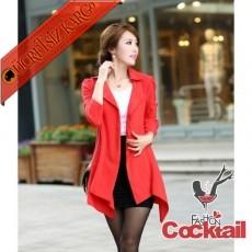 * Japon Uzun Klasik & Şık Ceket Kırmızı M L - İNDİRİM ÖZEL