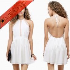 * Japon Göğüs & Sırt Dekolte Elbise Xs-Xxl Beyaz