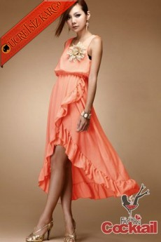* uçuşan etek japon kolsuz PERİ elbise