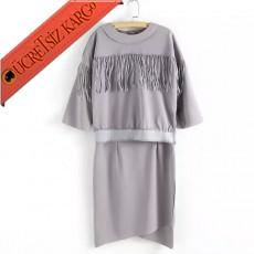 * Asimetrik & Püskül Japon Elegant Elbise Gri S-L