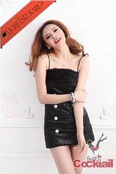 * KÜRKLÜ & DÜĞMELİ japon parlak abiye elbise siyah