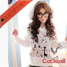 * SWEETY ANIMAL japon uzun kol sweatshirt