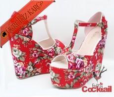 * Çiçek Desen Platform Topuk Ayakkabı 30-43 Kırmız