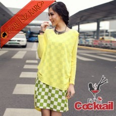 * Asmetrik Kareli Etek Japon Elbise Sarı S M L