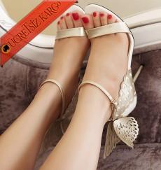 * Kanatlı Topuklu Melek Ayakkabı Krem