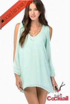 * Açık Kol Japon Elegant Bluz A.Yeşil Xs-Xxl